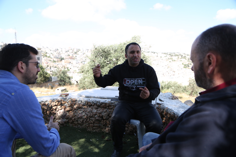 andrew Anderson and Andrea Rocca meeting Issa Amro in Hebron