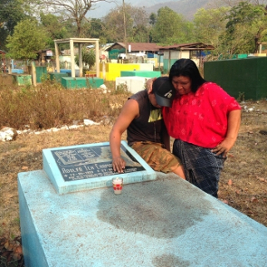 Angelica with her son, at grave of Adolfo Ich, May 2016. Credit: RightsAction