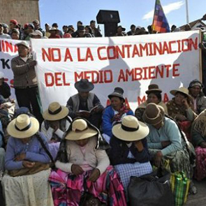 Aymara communities during a demonstration in Puno
