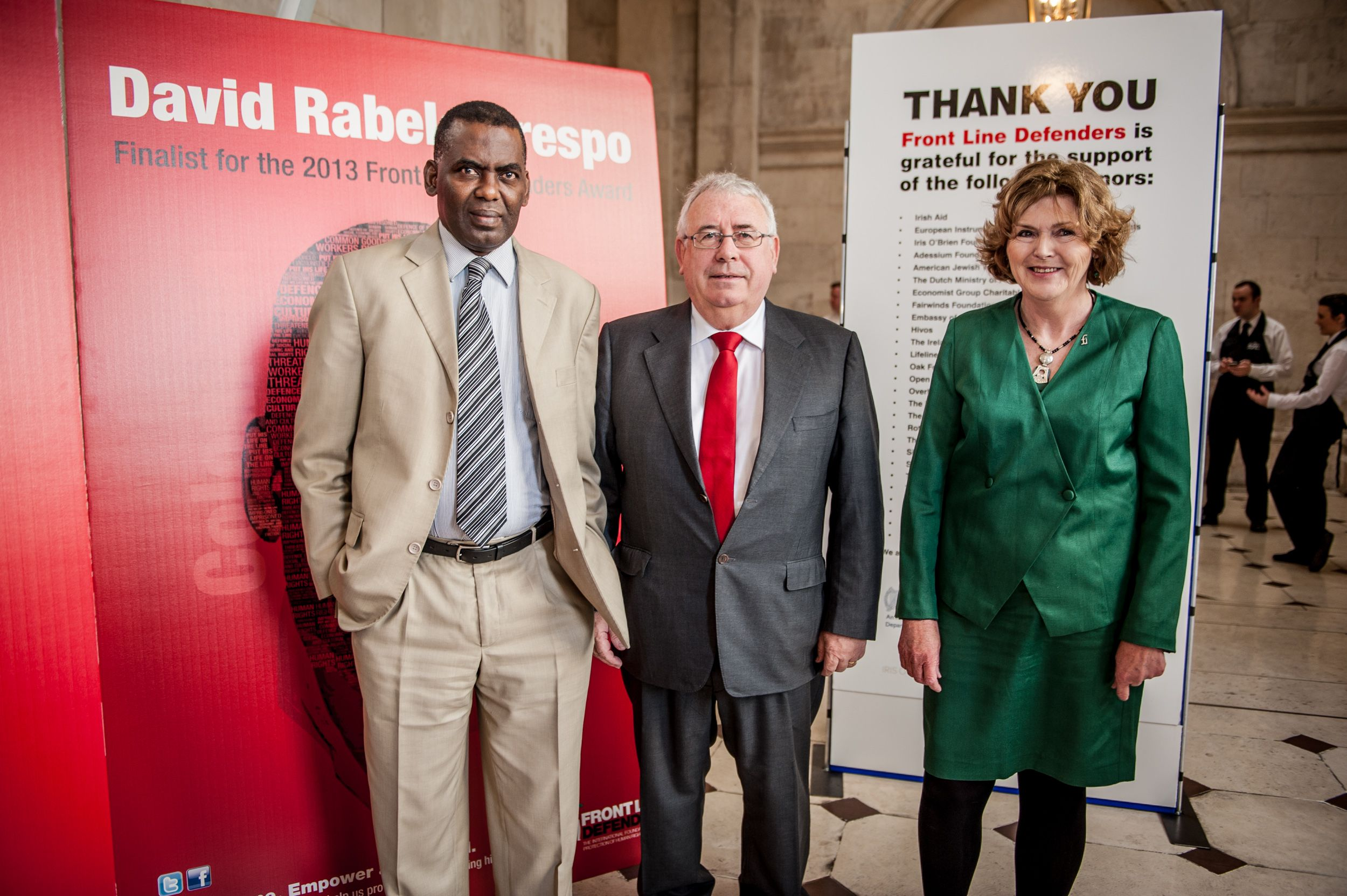 Biram Dah Abeid with Minister of State Joe Costello and Mary Lawlor