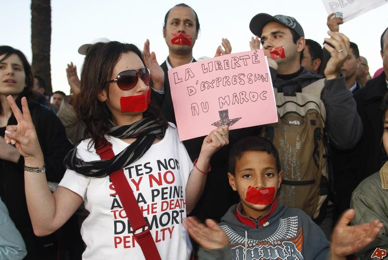 Freedom of expression protest in Morocco, 2013. Credit: Abdeljalil Bounhar