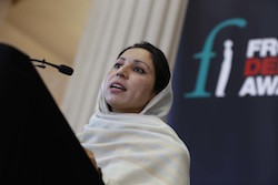 Noorzia Afridi speaking at 2014 award ceremony