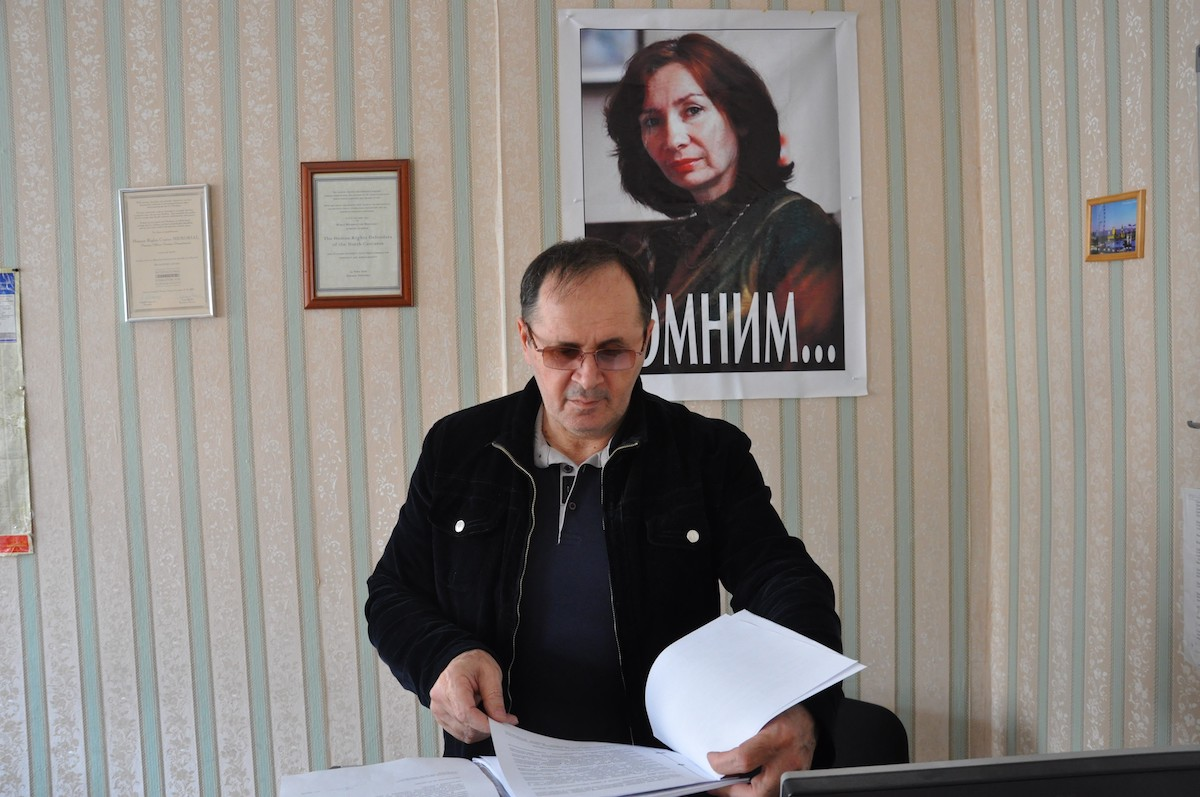 Oyub Titiev in Memorial Office