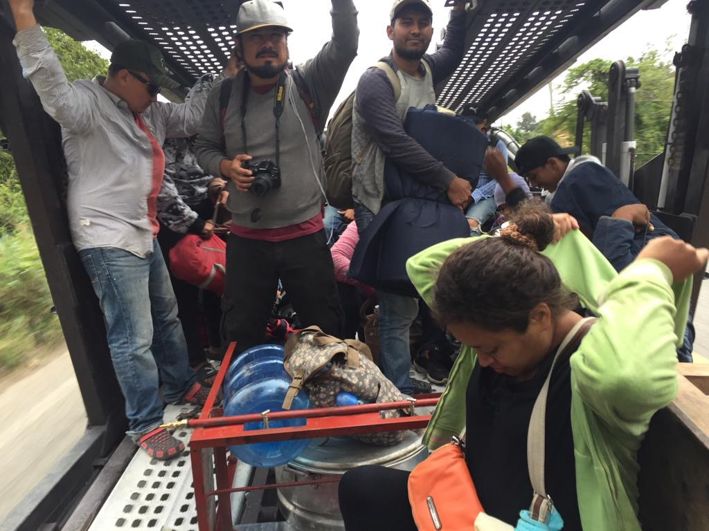 migrant caravan on train
